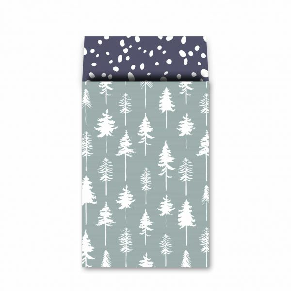 Cadeauzakje 17x25cm Lovely Trees ijsblauw/wit/diepblauw   CollectivWarehouse