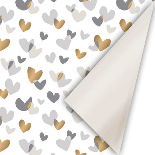 Cadeaupapier Duo Hearts champagne/goud/grijs | CollectivWarehouse