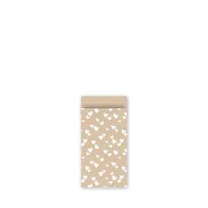 Cadeauzakjes 7x13cm Solo Hearts ECO Kraft wit | CollectivWarehouse
