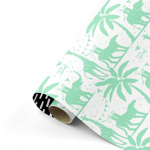 Cadeaupapier Tropical Party fresh mint/zwart | CollectivWarehouse