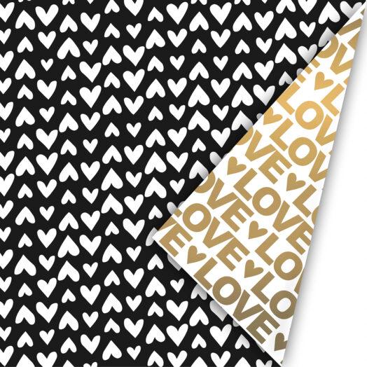 Cadeaupapier Love Letter zwart/goud | CollectivWarehouse