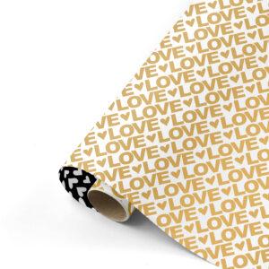 Cadeaupapier Love Letters goud/zwart | CollectivWarehouse