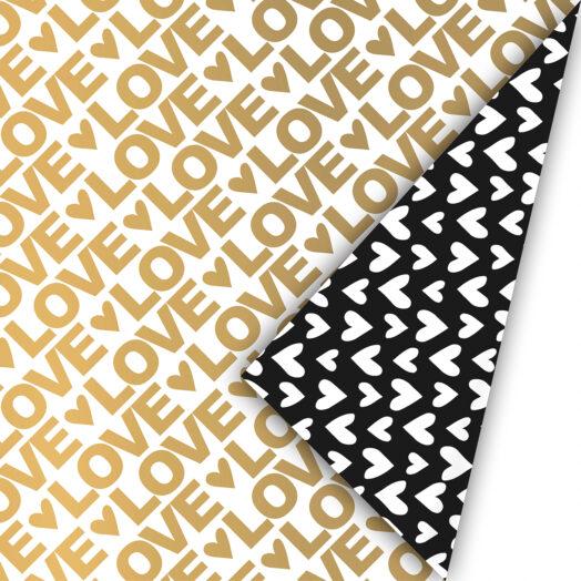 Cadeaupapier Love Letter goud/zwart | CollectivWarehouse
