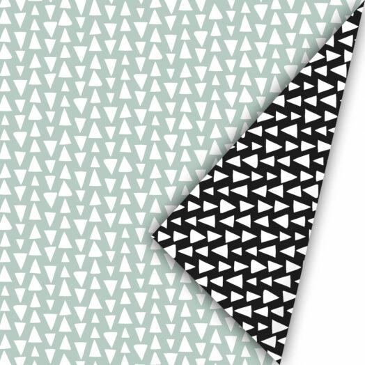 Cadeaupapier Ethnic Triangles salie/zwart | CollectivWarehouse