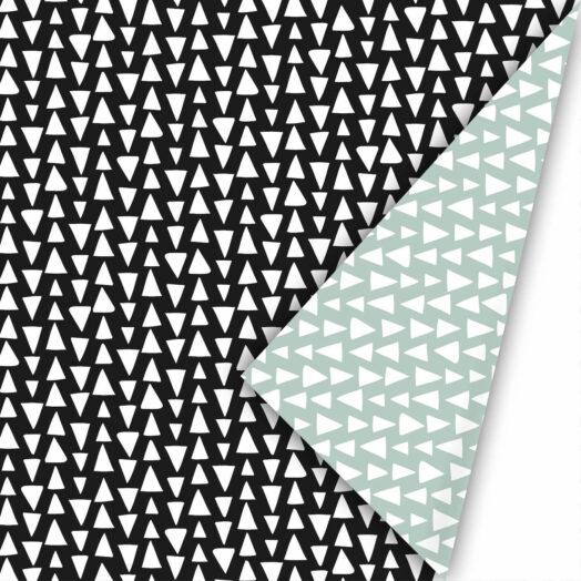 Cadeaupapier Ethnic Triangles zwart/salie | CollectivWarehouse