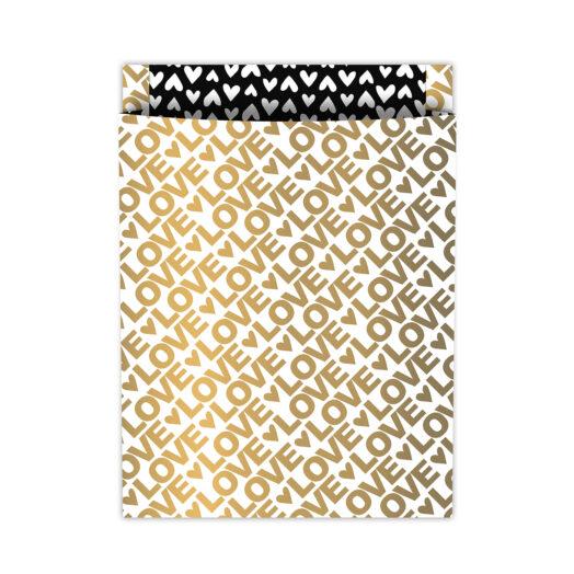 Tijdschriftenzak 25x34cm +4 Love Letters goud/zwart   CollectivWarehouse