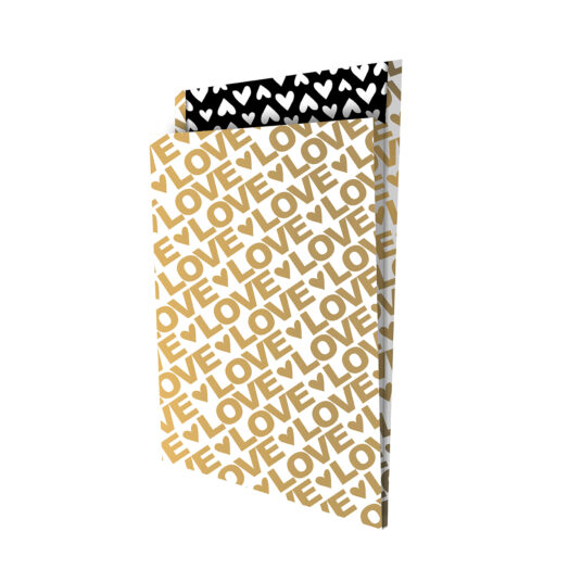 Tijdschriftenzak 25x34cm +4 Lovely Letters goud/zwart   CollectivWarehouse