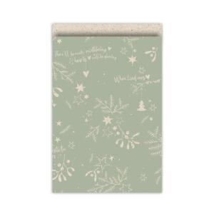 Cadeauzakjes 17x25cm Mistletoe Kisses grasspaper/salie | CollectivWarehouse