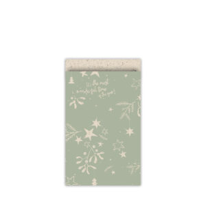 Cadeauzakjes 12x19cm Mistletoe Kisses grasspaper/salie | CollectivWarehouse