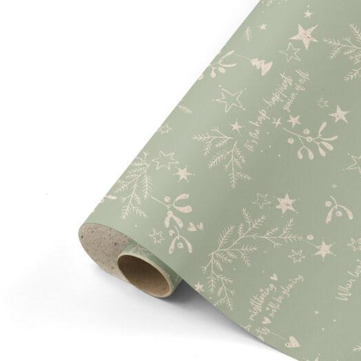 Cadeaupapier Mistletoe Kisses grasspaper/salie | CollectivWarehouse