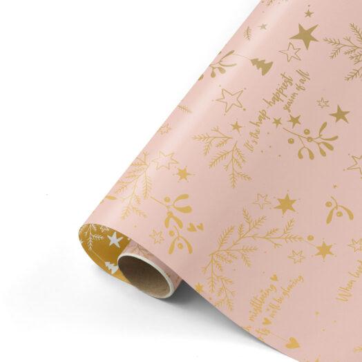 Cadeaupapier Mistletoe Kisses roze/goud | CollectivWarehouse