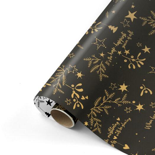 Cadeaupapier Mistletoe Kisses zwart/goud | CollectivWarehouse