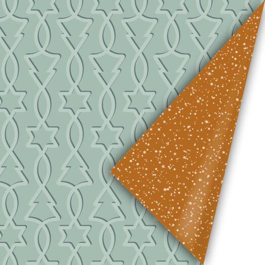 Cadeaupapier Trees & Stars mint/roest | CollectivWarehouse