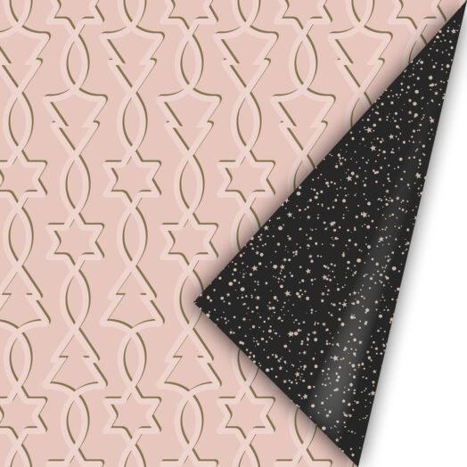 Cadeaupapier Trees & Stars roze/zwart | CollectivWarehouse