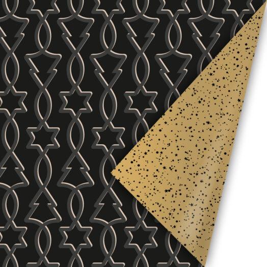 Cadeaupapier Trees & Stars zwart/goud | CollectivWarehouse