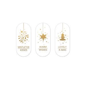 Cadeaustickers 500 Kerst '21 ovaal wit/goud |CollectivWarehouse